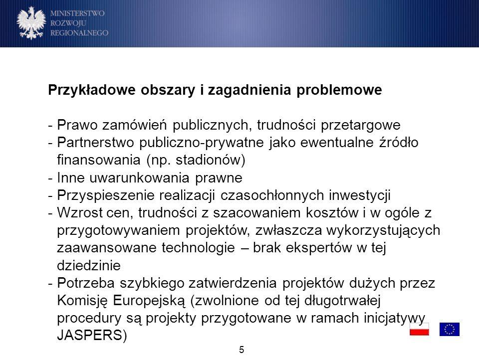5 Przykładowe obszary i zagadnienia problemowe - Prawo zamówień publicznych, trudności przetargowe -Partnerstwo publiczno-prywatne jako ewentualne źródło finansowania (np.