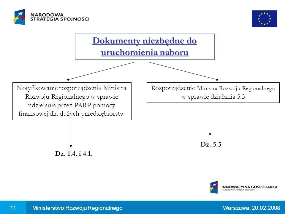 Dokumenty niezbędne do uruchomienia naboru 11Ministerstwo Rozwoju RegionalnegoWarszawa, 20.02.2008 Notyfikowanie rozporządzenia Ministra Rozwoju Regionalnego w sprawie udzielania przez PARP pomocy finansowej dla dużych przedsiębiorstw Rozporządzenie Ministra Rozwoju Regionalnego w sprawie działania 5.3 Dz.