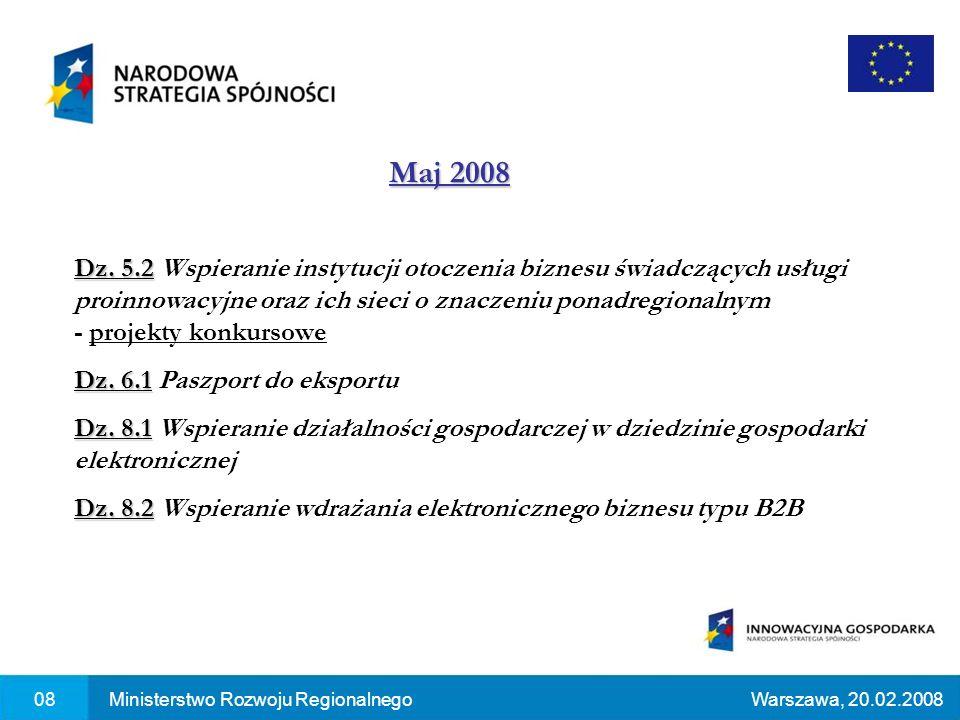 Maj 2008 08Ministerstwo Rozwoju RegionalnegoWarszawa, 20.02.2008 Dz.