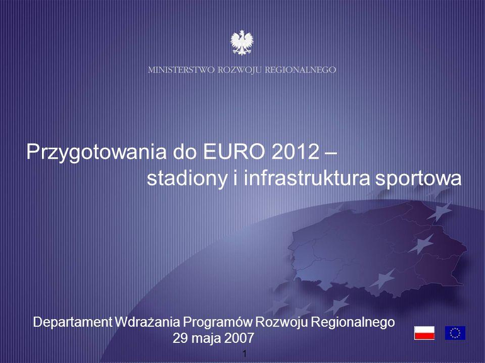 1 Przygotowania do EURO 2012 – stadiony i infrastruktura sportowa Departament Wdrażania Programów Rozwoju Regionalnego 29 maja 2007