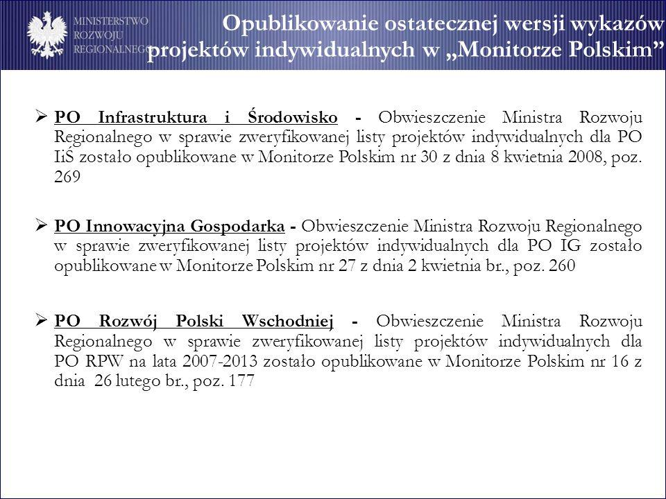 Opublikowanie ostatecznej wersji wykazów projektów indywidualnych w Monitorze Polskim PO Infrastruktura i Środowisko - Obwieszczenie Ministra Rozwoju Regionalnego w sprawie zweryfikowanej listy projektów indywidualnych dla PO IiŚ zostało opublikowane w Monitorze Polskim nr 30 z dnia 8 kwietnia 2008, poz.