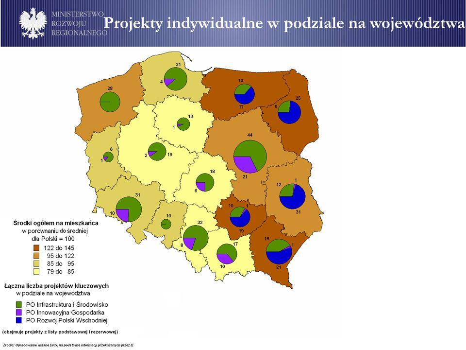 Projekty indywidualne w podziale na województwa