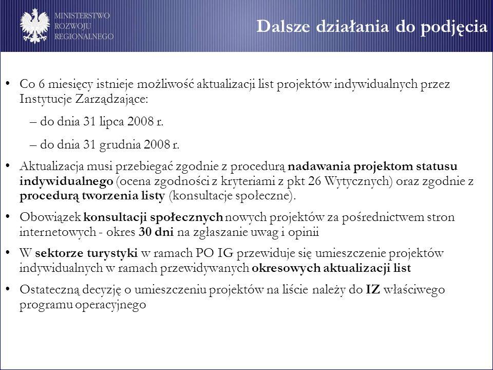 Dalsze działania do podjęcia Co 6 miesięcy istnieje możliwość aktualizacji list projektów indywidualnych przez Instytucje Zarządzające: – do dnia 31 lipca 2008 r.