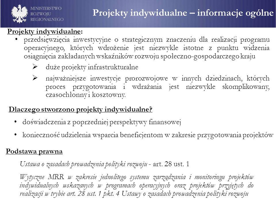 Projekty indywidualne: przedsięwzięcia inwestycyjne o strategicznym znaczeniu dla realizacji programu operacyjnego, których wdrożenie jest niezwykle i