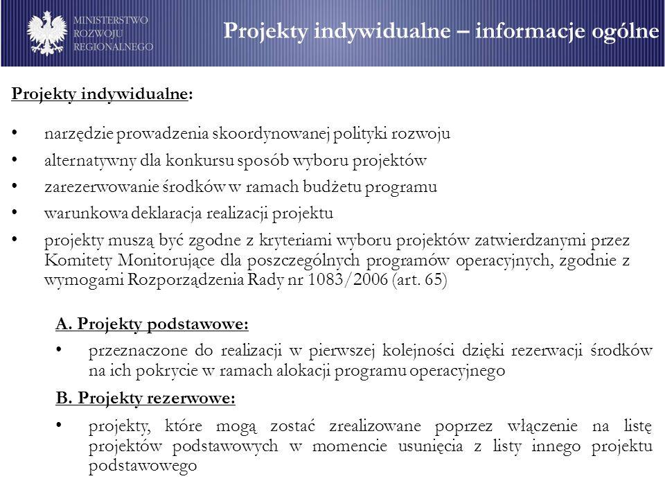 Projekty indywidualne: narzędzie prowadzenia skoordynowanej polityki rozwoju alternatywny dla konkursu sposób wyboru projektów zarezerwowanie środków