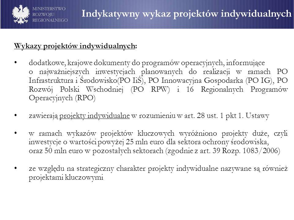 Wykazy projektów indywidualnych: dodatkowe, krajowe dokumenty do programów operacyjnych, informujące o najważniejszych inwestycjach planowanych do realizacji w ramach PO Infrastruktura i Środowisko(PO IiŚ), PO Innowacyjna Gospodarka (PO IG), PO Rozwój Polski Wschodniej (PO RPW) i 16 Regionalnych Programów Operacyjnych (RPO) zawierają projekty indywidualne w rozumieniu w art.
