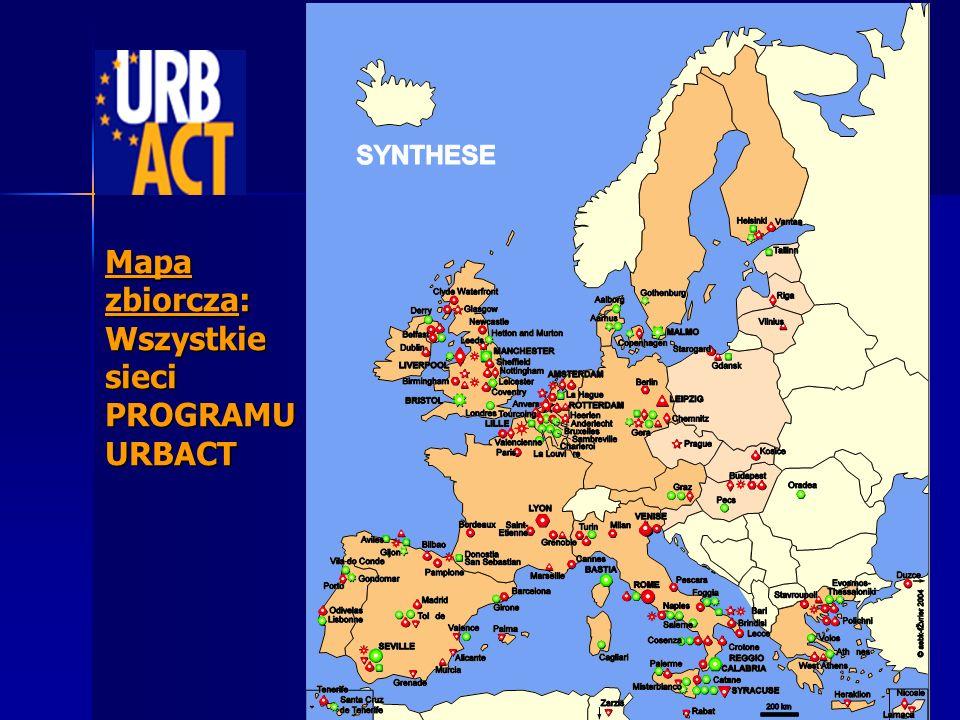 Mapa zbiorcza: Wszystkie sieci PROGRAMU URBACT
