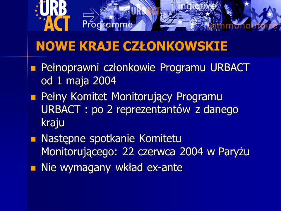 NOWE KRAJE CZŁONKOWSKIE Pełnoprawni członkowie Programu URBACT od 1 maja 2004 Pełnoprawni członkowie Programu URBACT od 1 maja 2004 Pełny Komitet Moni