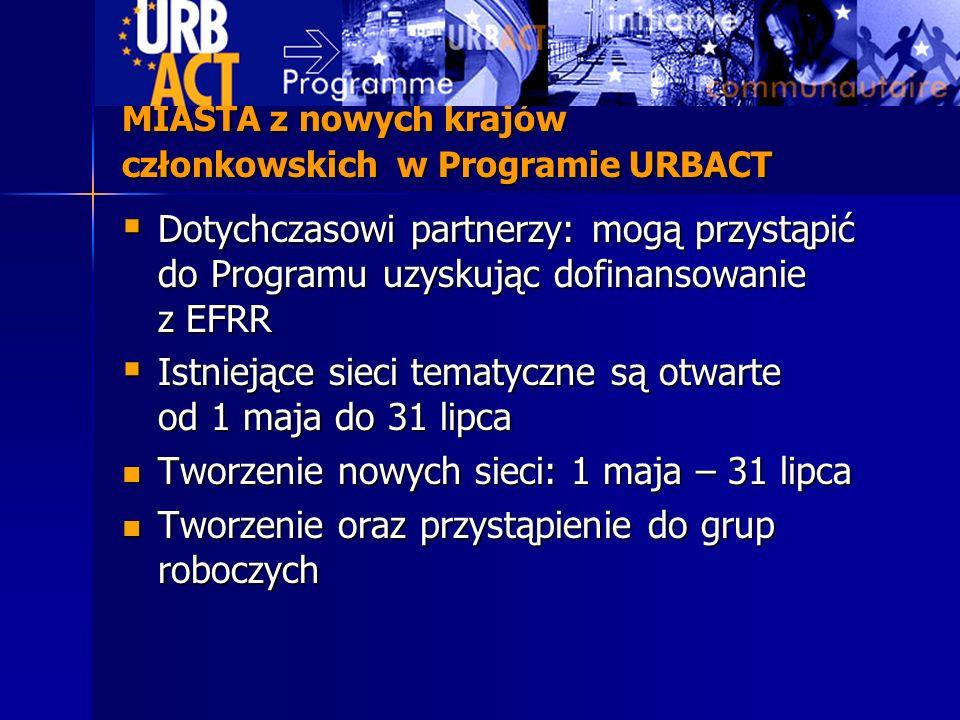 MIASTA z nowych krajów członkowskich w Programie URBACT Dotychczasowi partnerzy: mogą przystąpić do Programu uzyskując dofinansowanie z EFRR Dotychcza