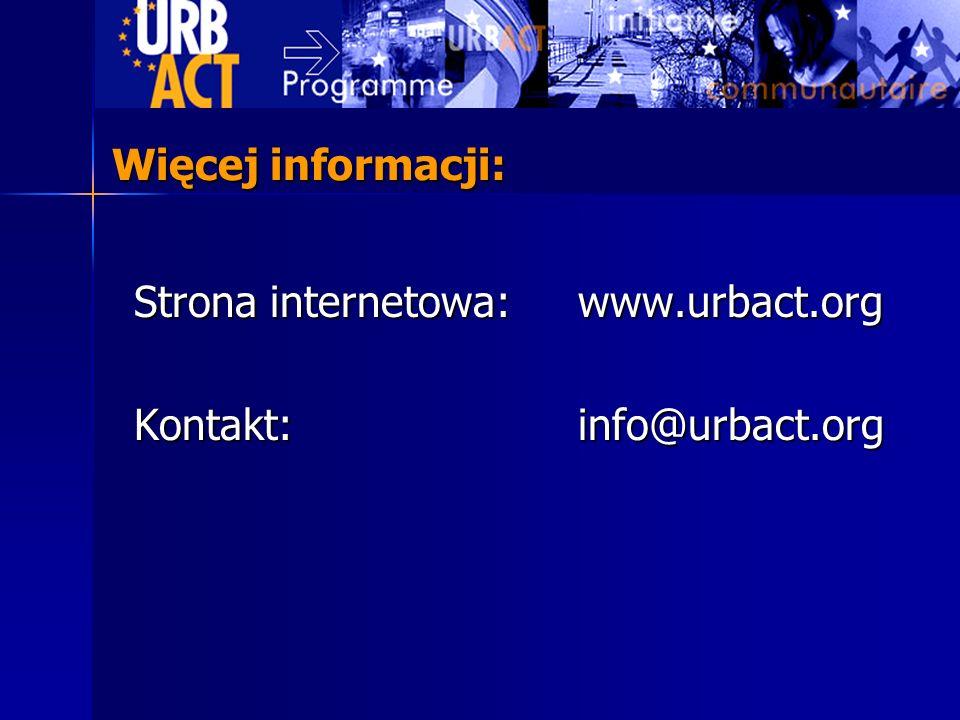 Strona internetowa: www.urbact.org Kontakt: info@urbact.org Więcej informacji: