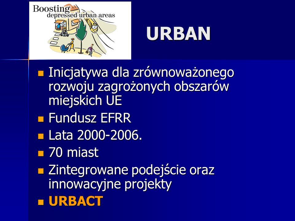 URBAN Inicjatywa dla zrównoważonego rozwoju zagrożonych obszarów miejskich UE Inicjatywa dla zrównoważonego rozwoju zagrożonych obszarów miejskich UE