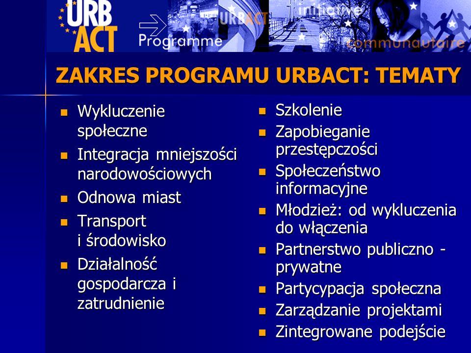 Wymiana doświadczeń pomiędzy miastami Wymiana doświadczeń pomiędzy miastami URBACT nie jest programem działań URBACT nie jest programem działań Kapitalizacja oraz rozpowszechnianie wiedzy Kapitalizacja oraz rozpowszechnianie wiedzy Podnoszenie umiejętności podmiotów uczestniczących w życiu miasta Podnoszenie umiejętności podmiotów uczestniczących w życiu miasta Podkreślenie znaczenia problematyki miejskiej w Funduszach Strukturalnych Podkreślenie znaczenia problematyki miejskiej w Funduszach Strukturalnych CELE PROGRAMU URBACT
