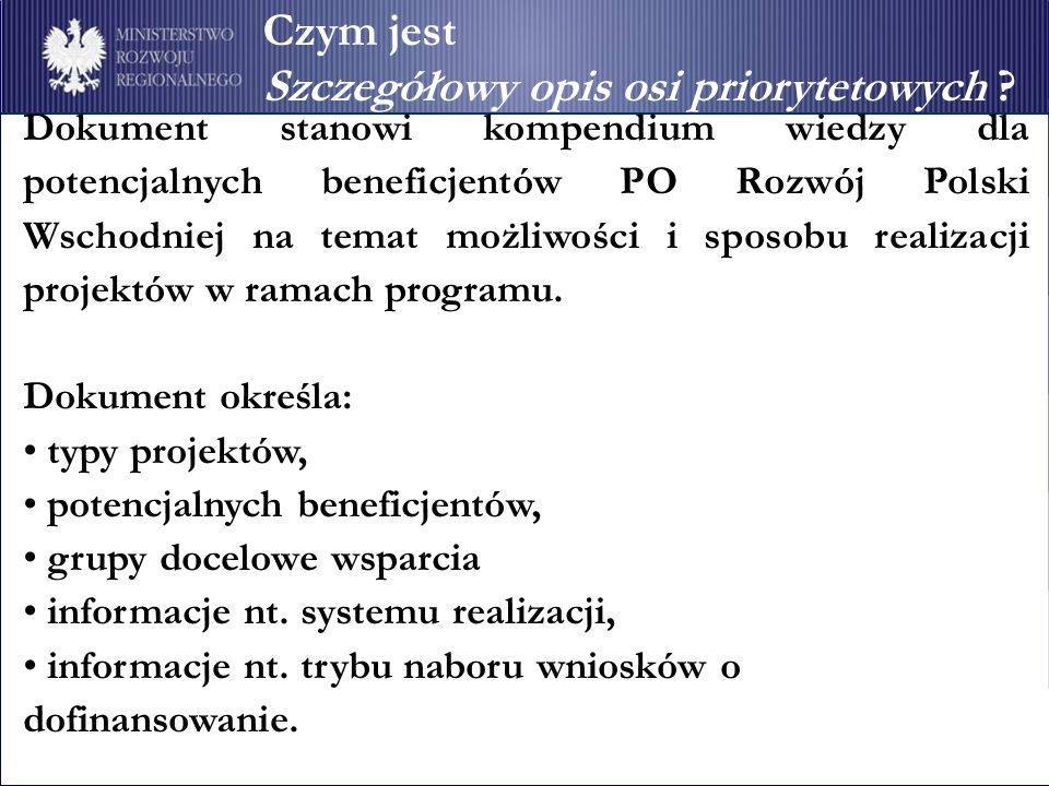 Dokument stanowi kompendium wiedzy dla potencjalnych beneficjentów PO Rozwój Polski Wschodniej na temat możliwości i sposobu realizacji projektów w ra