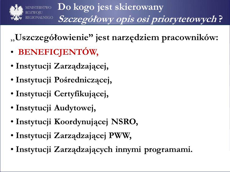 Uszczegółowienie jest narzędziem pracowników: BENEFICJENTÓW, Instytucji Zarządzającej, Instytucji Pośredniczącej, Instytucji Certyfikującej, Instytucj