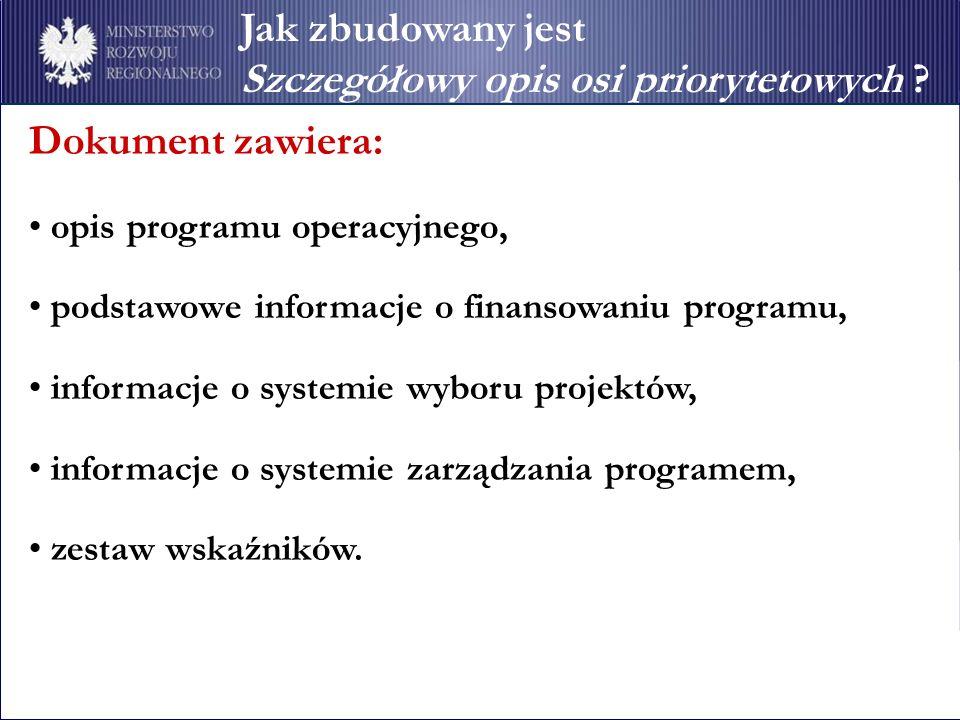 Jak zbudowany jest Szczegółowy opis osi priorytetowych ? Dokument zawiera: opis programu operacyjnego, podstawowe informacje o finansowaniu programu,