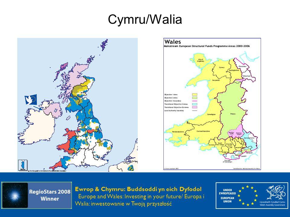 Ewrop & Chymru: Buddsoddi yn eich Dyfodol Europe and Wales: Investing in your future Ewrop & Chymru: Buddsoddi yn eich Dyfodol Europe and Wales: Investing in your future / Europa i Walia: inwestowanie w Twoją przyszłość Programy walijskie 2000-2006 Cel 1- Zachodnia Walia i doliny Cel 2 – Wschodnia Walia Cel 3 – Wschodnia Walia INTERREG IIIA - Walia/Irlandia transgraniczny LEADER plus EQUAL URBAN II