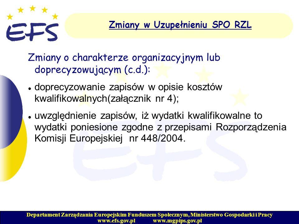 Departament Zarządzania Europejskim Funduszem Społecznym, Ministerstwo Gospodarki i Pracy www.efs.gov.pl www.mgpips.gov.pl Zmiany w Uzupełnieniu SPO R
