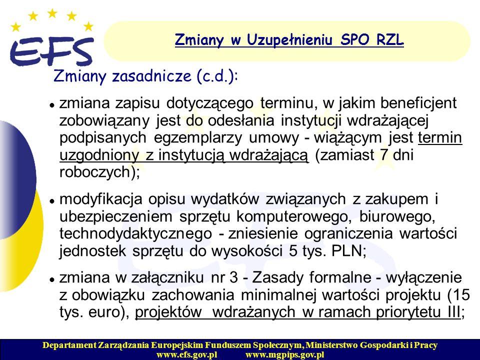 Departament Zarządzania Europejskim Funduszem Społecznym, Ministerstwo Gospodarki i Pracy www.efs.gov.pl www.mgpips.gov.pl Zmiany w Uzupełnieniu SPO RZL Zmiany zasadnicze (c.d.): zmiana w załączniku nr 7 - Tabela pomocy publicznej: - uwzględnienie instrumentów wsparcia dla beneficjentów Działań 1.2 i 1.3 - jednorazowych środków na podjęcie własnej działalności gospodarczej; - modyfikacja zapisów dotyczących opisu instrumentu wsparcia w postaci subsydiowania wynagrodzeń osób niepełnosprawnych w ramach Działania 1.4; - doprecyzowanie zapisów w odniesieniu do wsparcia w postaci subsydiowania wynagrodzeń młodzieży i osób długotrwale bezrobotnych;