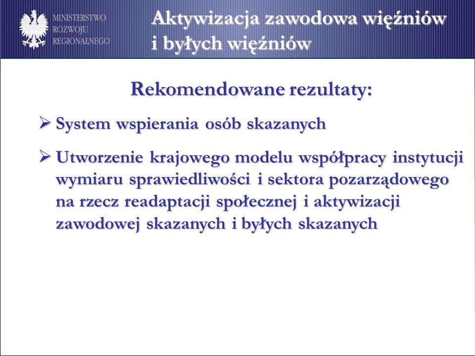 Aktywizacja zawodowa więźniów i byłych więźniów Rekomendowane rezultaty: Rekomendowane rezultaty: System wspierania osób skazanych System wspierania o