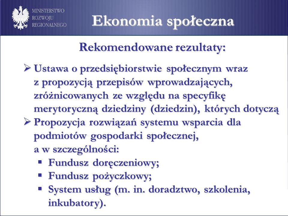 Ekonomia społeczna Rekomendowane rezultaty: Rekomendowane rezultaty: Ustawa o przedsiębiorstwie społecznym wraz Ustawa o przedsiębiorstwie społecznym wraz z propozycją przepisów wprowadzających, zróżnicowanych ze względu na specyfikę merytoryczną dziedziny (dziedzin), których dotyczą Propozycja rozwiązań systemu wsparcia dla podmiotów gospodarki społecznej, Propozycja rozwiązań systemu wsparcia dla podmiotów gospodarki społecznej, a w szczególności: Fundusz doręczeniowy; Fundusz doręczeniowy; Fundusz pożyczkowy; Fundusz pożyczkowy; System usług (m.