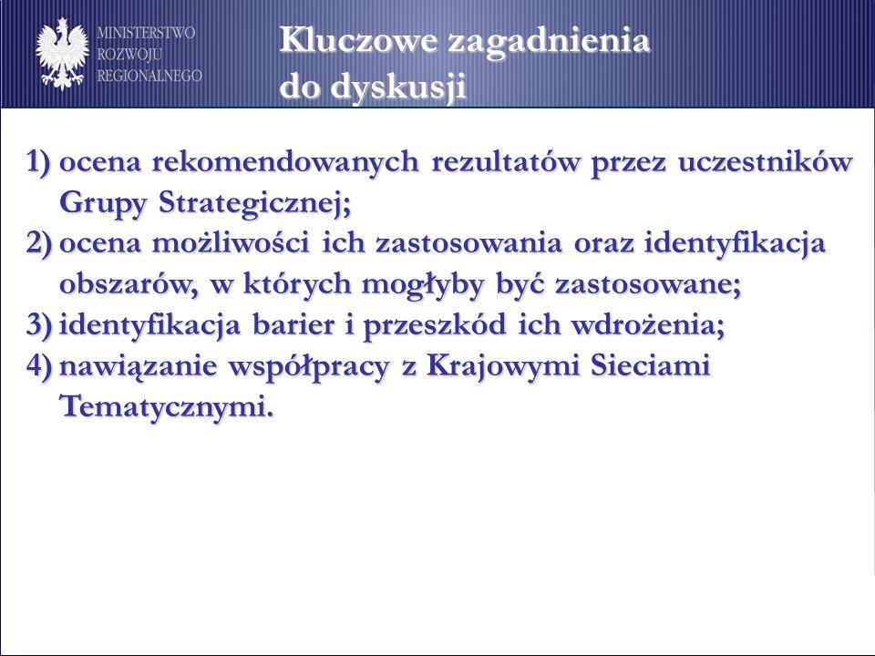 Kluczowe zagadnienia do dyskusji 1)ocena rekomendowanych rezultatów przez uczestników Grupy Strategicznej; 2)ocena możliwości ich zastosowania oraz identyfikacja obszarów, w których mogłyby być zastosowane; 3)identyfikacja barier i przeszkód ich wdrożenia; 4)nawiązanie współpracy z Krajowymi Sieciami Tematycznymi.