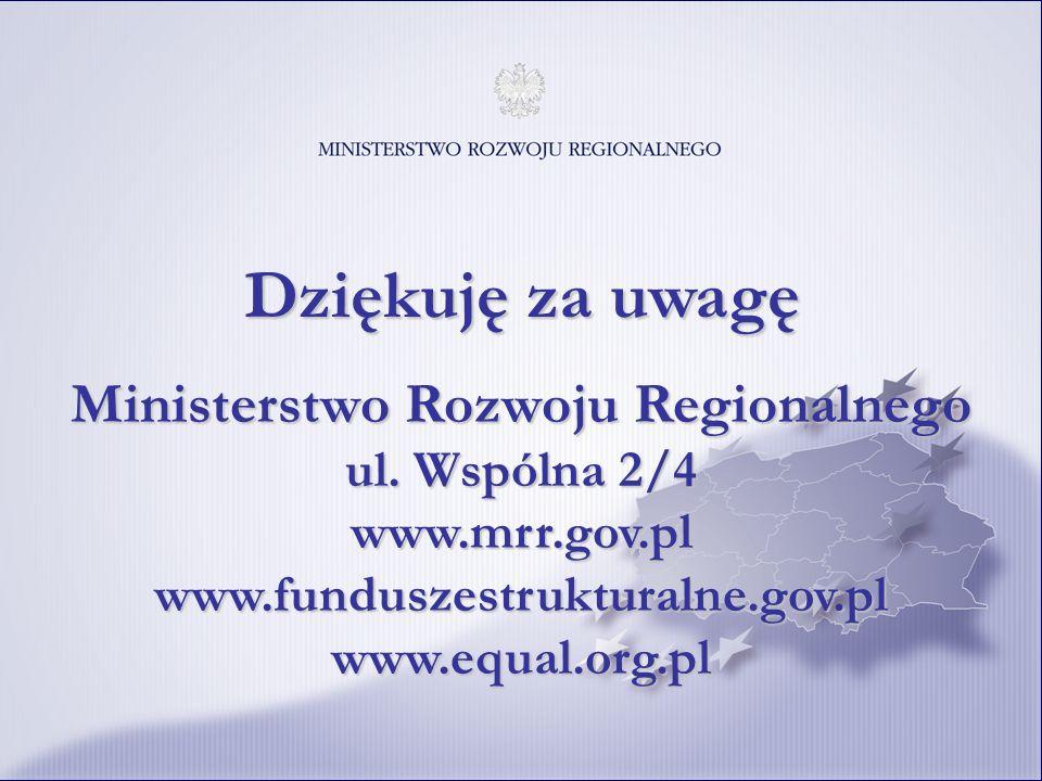 Dziękuję za uwagę Ministerstwo Rozwoju Regionalnego ul. Wspólna 2/4 www.mrr.gov.pl www.funduszestrukturalne.gov.pl www.equal.org.pl