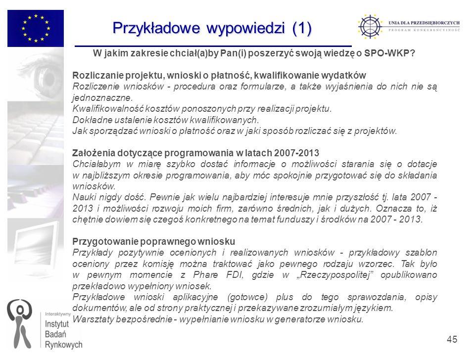 45 W jakim zakresie chciał(a)by Pan(i) poszerzyć swoją wiedzę o SPO-WKP? Rozliczanie projektu, wnioski o płatność, kwalifikowanie wydatków Rozliczenie