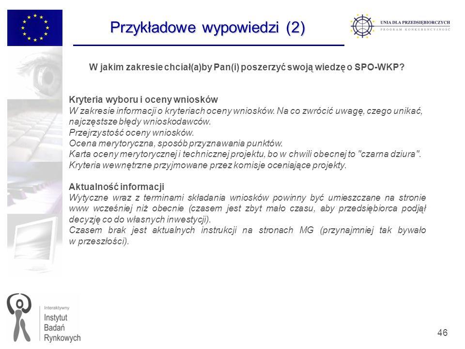 46 W jakim zakresie chciał(a)by Pan(i) poszerzyć swoją wiedzę o SPO-WKP? Kryteria wyboru i oceny wniosków W zakresie informacji o kryteriach oceny wni
