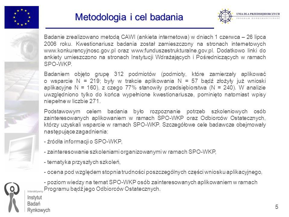 5 Badanie zrealizowano metodą CAWI (ankieta internetowa) w dniach 1 czerwca – 26 lipca 2006 roku. Kwestionariusz badania został zamieszczony na strona