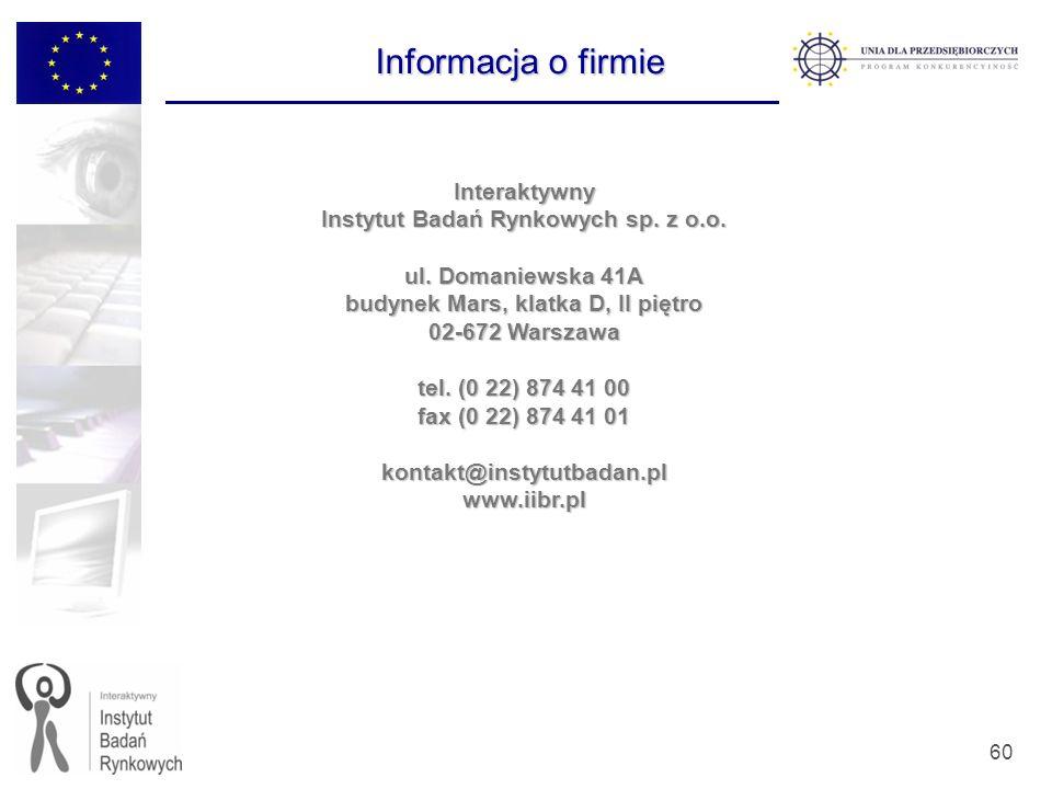 60 Informacja o firmie Interaktywny Instytut Badań Rynkowych sp. z o.o. ul. Domaniewska 41A budynek Mars, klatka D, II piętro 02-672 Warszawa tel. (0