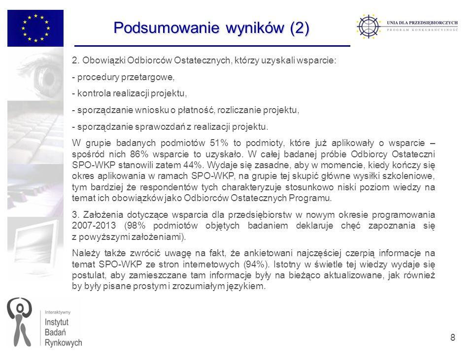 39 Udział w szkoleniach Czy brał(a) Pan(i) udział w szkoleniu/szkoleniach dotyczących realizacji projektów w ramach SPO-WKP.