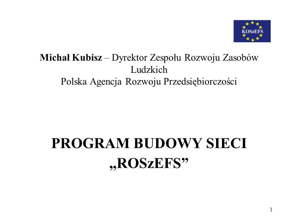 1 Michał Kubisz – Dyrektor Zespołu Rozwoju Zasobów Ludzkich Polska Agencja Rozwoju Przedsiębiorczości PROGRAM BUDOWY SIECI ROSzEFS