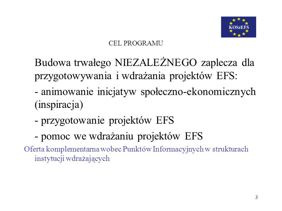 3 CEL PROGRAMU Budowa trwałego NIEZALEŻNEGO zaplecza dla przygotowywania i wdrażania projektów EFS: - animowanie inicjatyw społeczno-ekonomicznych (in