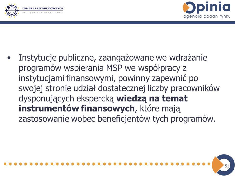 51 Instytucje publiczne, zaangażowane we wdrażanie programów wspierania MSP we współpracy z instytucjami finansowymi, powinny zapewnić po swojej stronie udział dostatecznej liczby pracowników dysponujących ekspercką wiedzą na temat instrumentów finansowych, które mają zastosowanie wobec beneficjentów tych programów.