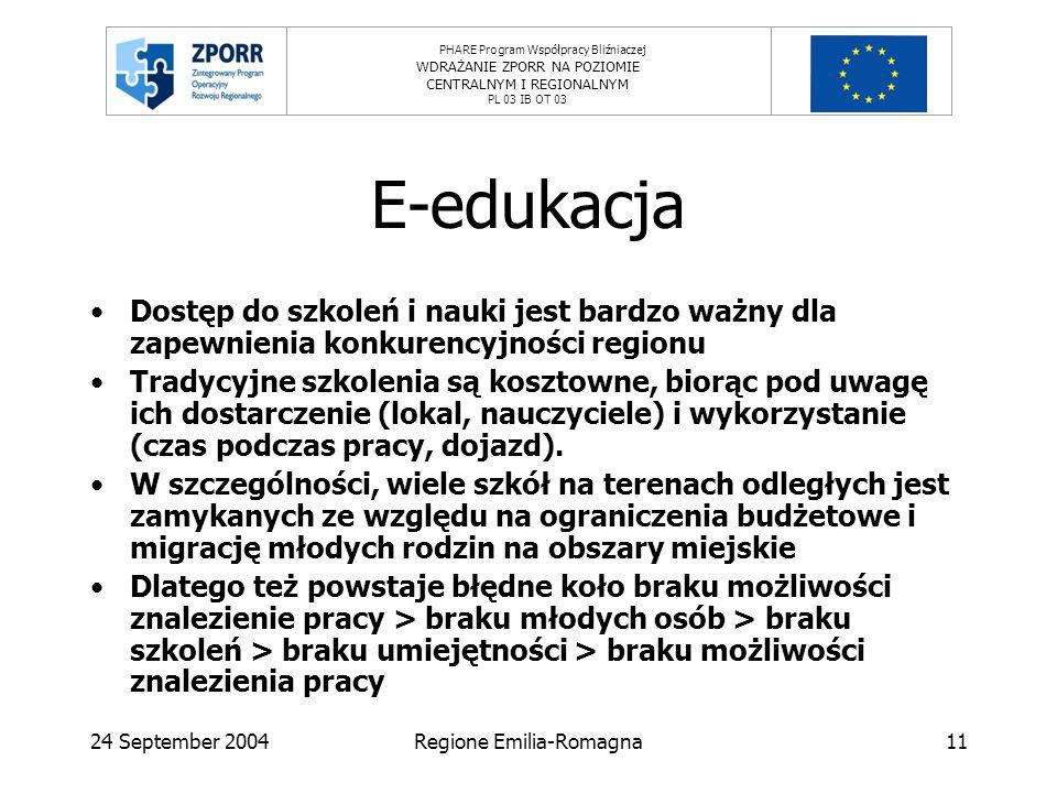 PHARE Program Współpracy Bliźniaczej WDRAŻANIE ZPORR NA POZIOMIE CENTRALNYM I REGIONALNYM PL 03 IB OT 03 24 September 2004Regione Emilia-Romagna11 E-edukacja Dostęp do szkoleń i nauki jest bardzo ważny dla zapewnienia konkurencyjności regionu Tradycyjne szkolenia są kosztowne, biorąc pod uwagę ich dostarczenie (lokal, nauczyciele) i wykorzystanie (czas podczas pracy, dojazd).