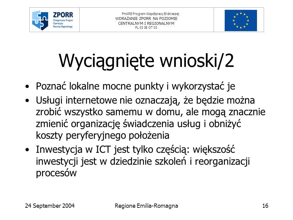 PHARE Program Współpracy Bliźniaczej WDRAŻANIE ZPORR NA POZIOMIE CENTRALNYM I REGIONALNYM PL 03 IB OT 03 24 September 2004Regione Emilia-Romagna16 Wyciągnięte wnioski/2 Poznać lokalne mocne punkty i wykorzystać je Usługi internetowe nie oznaczają, że będzie można zrobić wszystko samemu w domu, ale mogą znacznie zmienić organizację świadczenia usług i obniżyć koszty peryferyjnego położenia Inwestycja w ICT jest tylko częścią: większość inwestycji jest w dziedzinie szkoleń i reorganizacji procesów