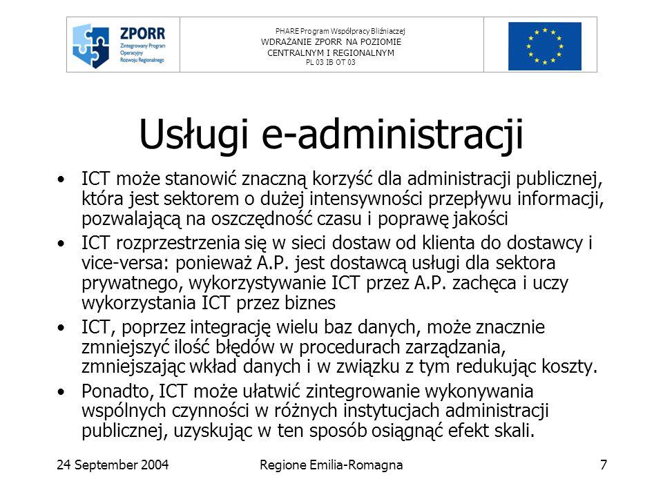 PHARE Program Współpracy Bliźniaczej WDRAŻANIE ZPORR NA POZIOMIE CENTRALNYM I REGIONALNYM PL 03 IB OT 03 24 September 2004Regione Emilia-Romagna7 Usługi e-administracji ICT może stanowić znaczną korzyść dla administracji publicznej, która jest sektorem o dużej intensywności przepływu informacji, pozwalającą na oszczędność czasu i poprawę jakości ICT rozprzestrzenia się w sieci dostaw od klienta do dostawcy i vice-versa: ponieważ A.P.