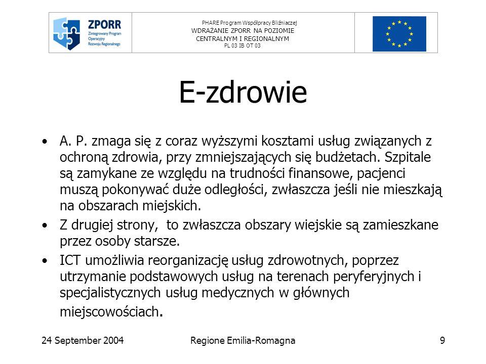PHARE Program Współpracy Bliźniaczej WDRAŻANIE ZPORR NA POZIOMIE CENTRALNYM I REGIONALNYM PL 03 IB OT 03 24 September 2004Regione Emilia-Romagna9 E-zdrowie A.