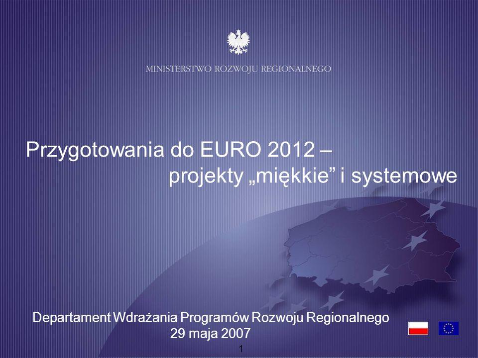 1 Przygotowania do EURO 2012 – projekty miękkie i systemowe Departament Wdrażania Programów Rozwoju Regionalnego 29 maja 2007
