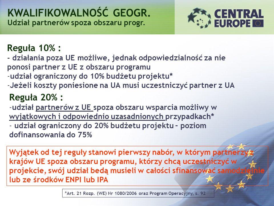 Reguła 10% : - działania poza UE możliwe, jednak odpowiedzialność za nie ponosi partner z UE z obszaru programu -udział ograniczony do 10% budżetu pro