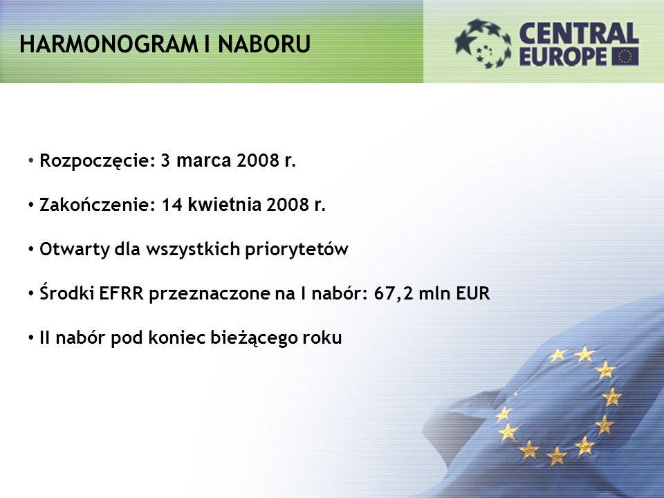 HARMONOGRAM I NABORU Rozpoczęcie: 3 marca 2008 r. Zakończenie: 14 kwietnia 2008 r. Otwarty dla wszystkich priorytetów Środki EFRR przeznaczone na I na