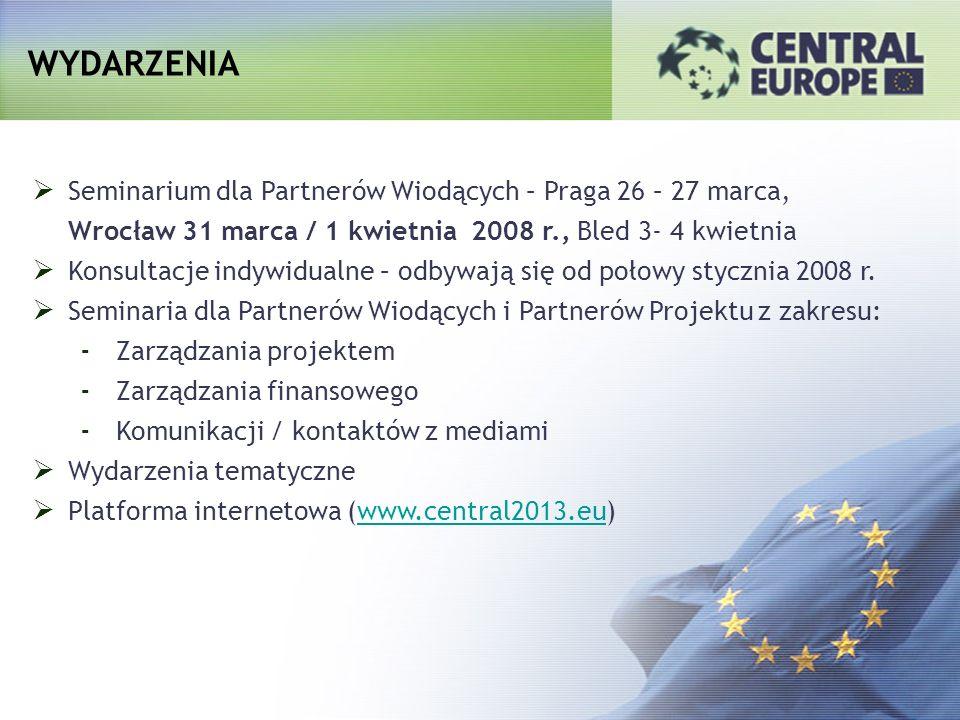 WYDARZENIA Seminarium dla Partnerów Wiodących – Praga 26 – 27 marca, Wrocław 31 marca / 1 kwietnia 2008 r., Bled 3- 4 kwietnia Konsultacje indywidualn