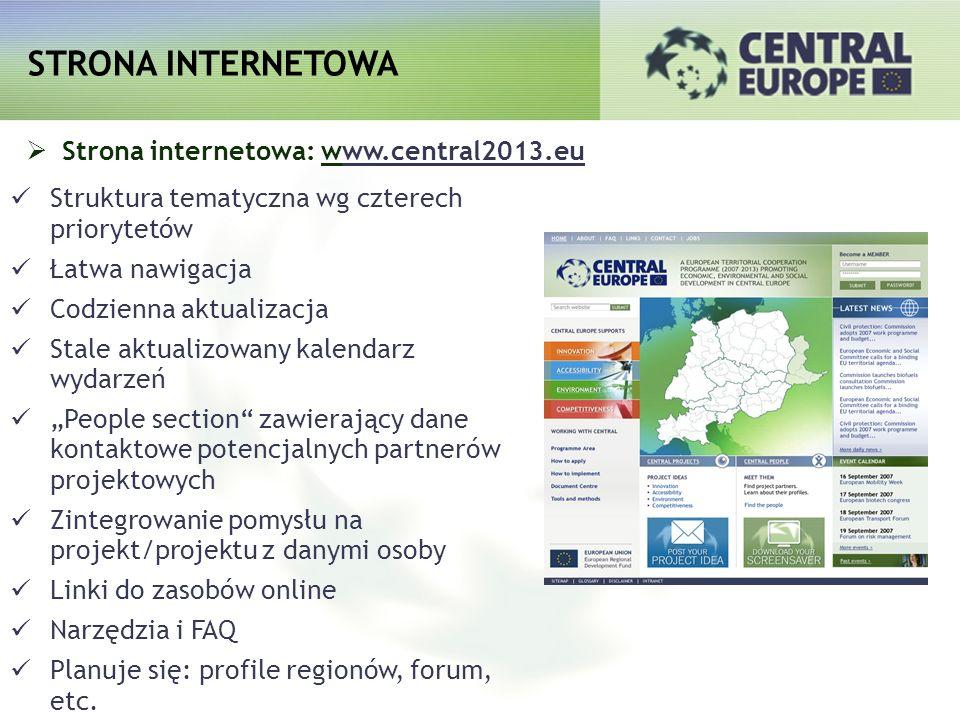 Strona internetowa: www.central2013.eu Struktura tematyczna wg czterech priorytetów Łatwa nawigacja Codzienna aktualizacja Stale aktualizowany kalenda
