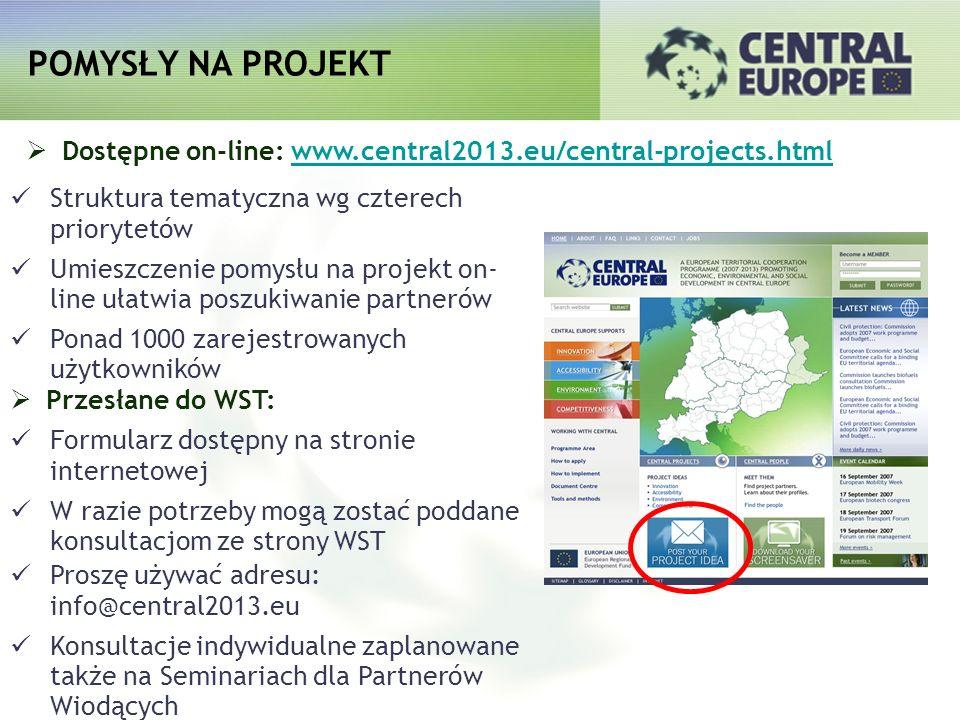 Dostępne on-line: www.central2013.eu/central-projects.htmlwww.central2013.eu/central-projects.html Struktura tematyczna wg czterech priorytetów Umiesz