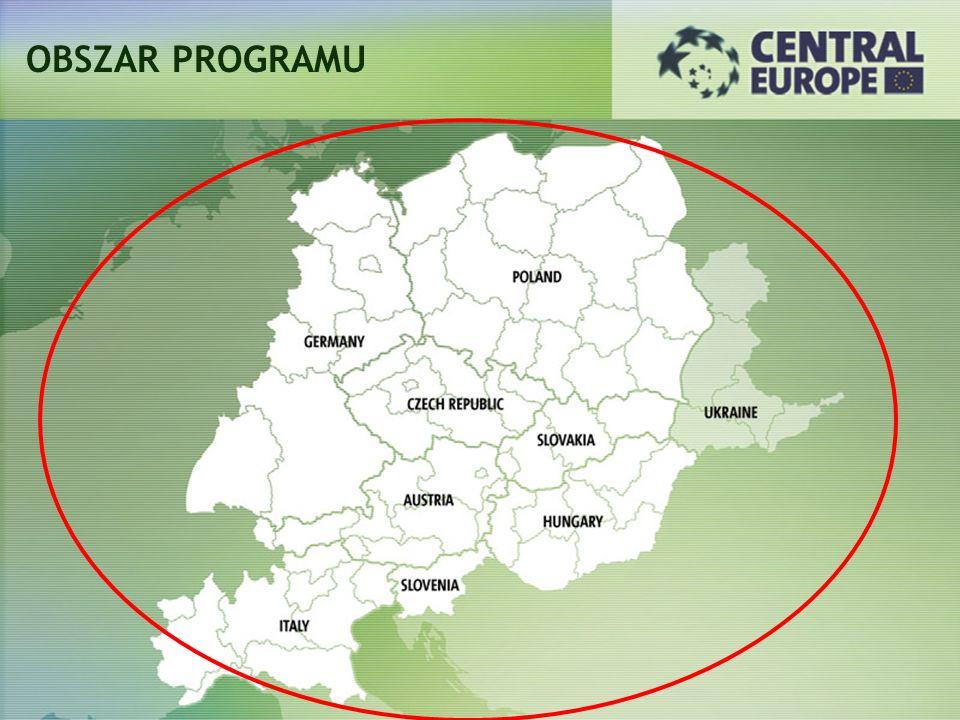 CELE PROGRAMU Wzmocnienie spójności terytorialnej Wspieranie wewnętrznej integracji Poprawa konkurencyjności obszaru Europy Środkowej