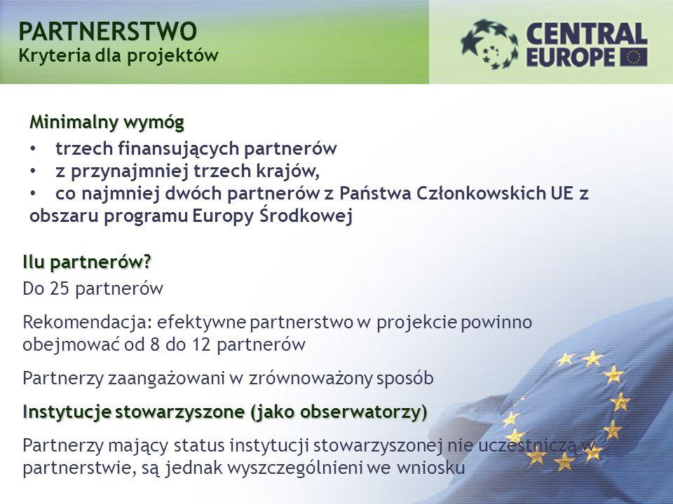 PARTNERSTWO Kryteria dla projektów Minimalny wymóg trzech finansujących partnerów z przynajmniej trzech krajów, co najmniej dwóch partnerów z Państwa