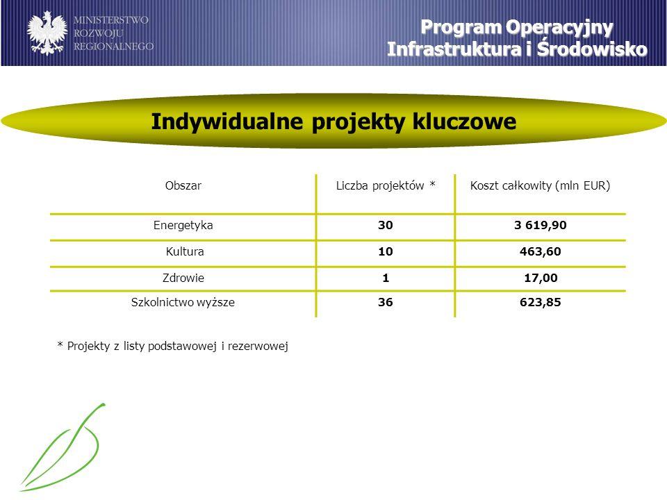 Indywidualne projekty kluczowe Program Operacyjny Infrastruktura i Środowisko ObszarLiczba projektów *Koszt całkowity (mln EUR) Energetyka303 619,90 Kultura10463,60 Zdrowie117,00 Szkolnictwo wyższe36623,85 * Projekty z listy podstawowej i rezerwowej