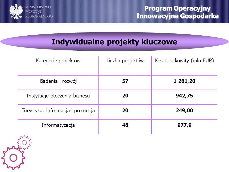 Indywidualne projekty kluczowe Program Operacyjny Innowacyjna Gospodarka Kategorie projektówLiczba projektówKoszt całkowity (mln EUR) Badania i rozwój571 261,20 Instytucje otoczenia biznesu20942,75 Turystyka, informacja i promocja20249,00 Informatyzacja48977,9