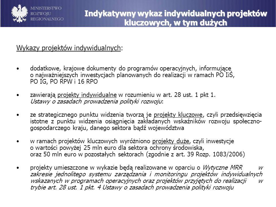 Indykatywny wykaz indywidualnych projektów kluczowych, w tym dużych Wykazy projektów indywidualnych: dodatkowe, krajowe dokumenty do programów operacyjnych, informujące o najważniejszych inwestycjach planowanych do realizacji w ramach PO IiŚ, PO IG, PO RPW i 16 RPO zawierają projekty indywidualne w rozumieniu w art.