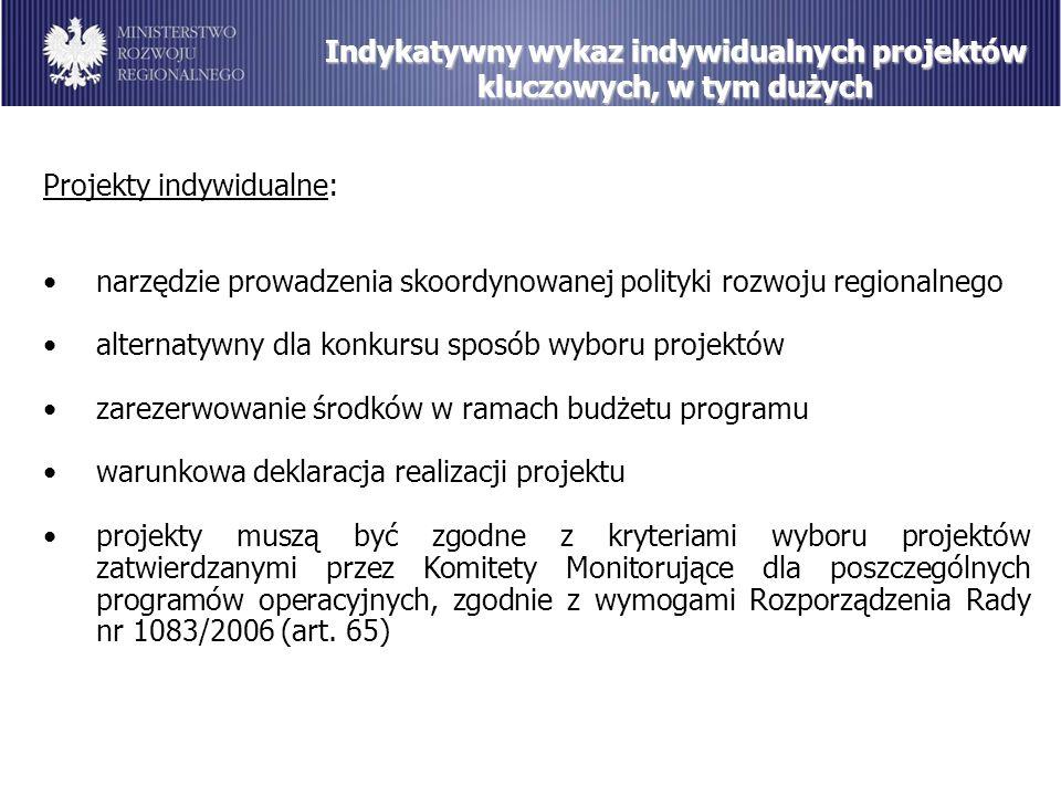 Indykatywny wykaz indywidualnych projektów kluczowych, w tym dużych Projekty indywidualne: narzędzie prowadzenia skoordynowanej polityki rozwoju regionalnego alternatywny dla konkursu sposób wyboru projektów zarezerwowanie środków w ramach budżetu programu warunkowa deklaracja realizacji projektu projekty muszą być zgodne z kryteriami wyboru projektów zatwierdzanymi przez Komitety Monitorujące dla poszczególnych programów operacyjnych, zgodnie z wymogami Rozporządzenia Rady nr 1083/2006 (art.